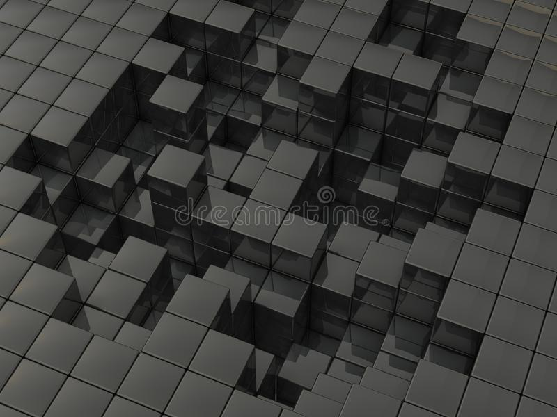 被毁坏的组织表面的抽象3D例证  向量例证