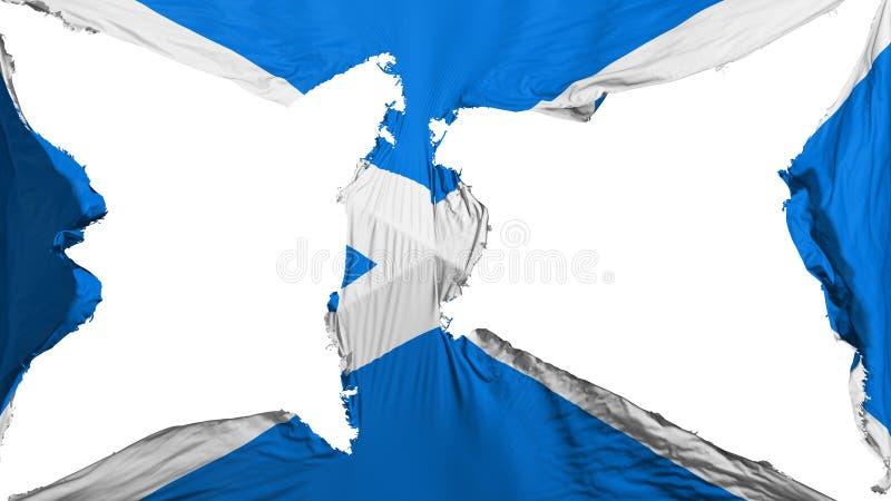被毁坏的苏格兰旗子 库存例证