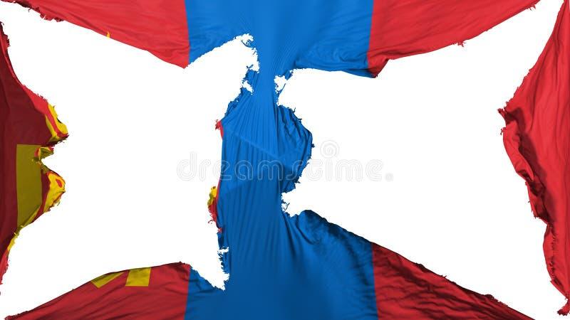 被毁坏的蒙古旗子 皇族释放例证