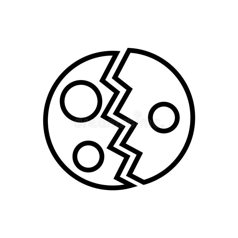 被毁坏的行星象在白色背景隔绝的传染媒介标志和标志 皇族释放例证