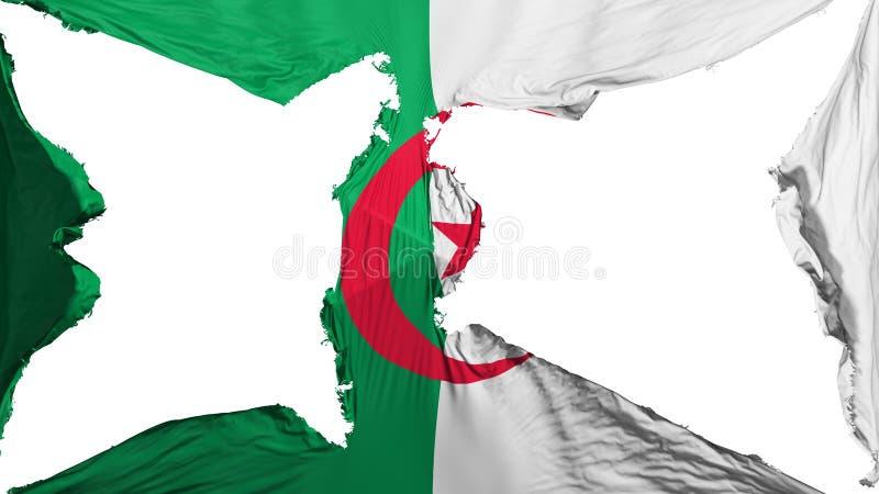 被毁坏的阿尔及利亚旗子 向量例证