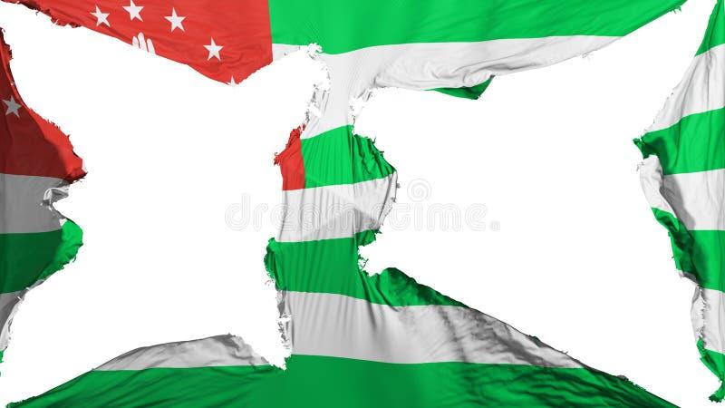 被毁坏的阿布哈兹旗子 向量例证