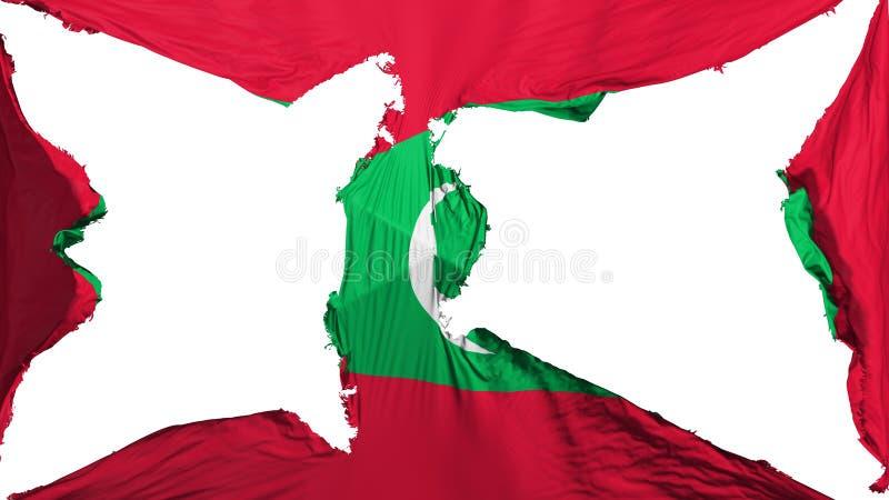 被毁坏的马尔代夫旗子 向量例证
