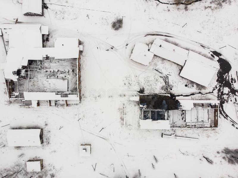 被毁坏的saltmaking的工厂鸟瞰图在德罗霍贝奇,乌克兰 库存图片
