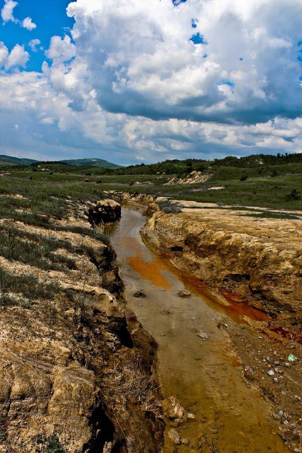 被污染的河在布泽乌,罗马尼亚 免版税库存图片