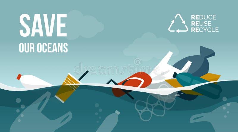 被污染的漂浮表面上的海洋和塑料废物 向量例证