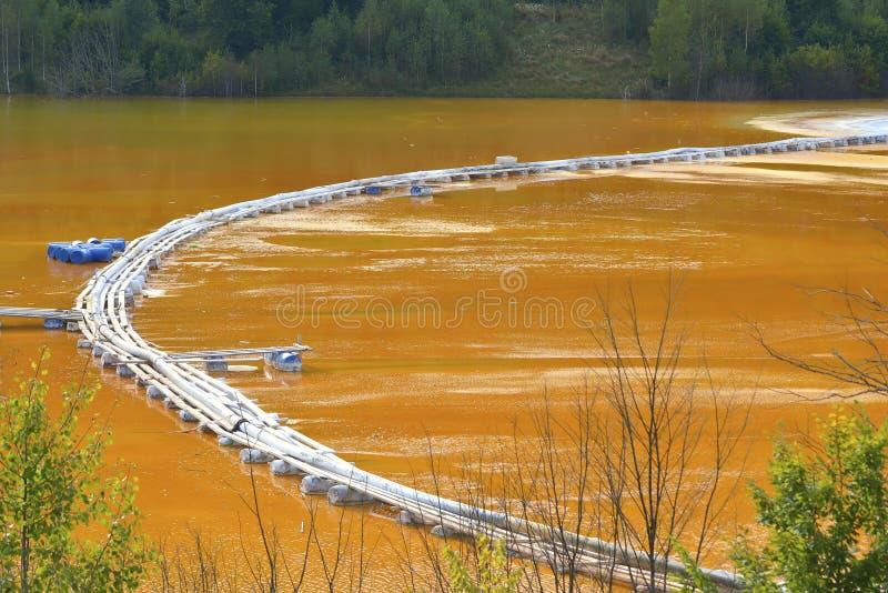 被污染的红色湖 库存照片