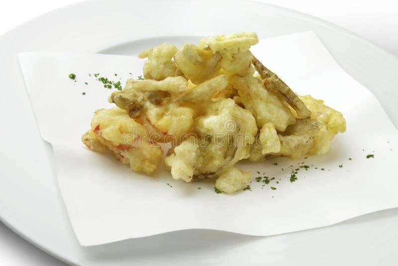 被油炸的大虾用porcini蘑菇 库存照片