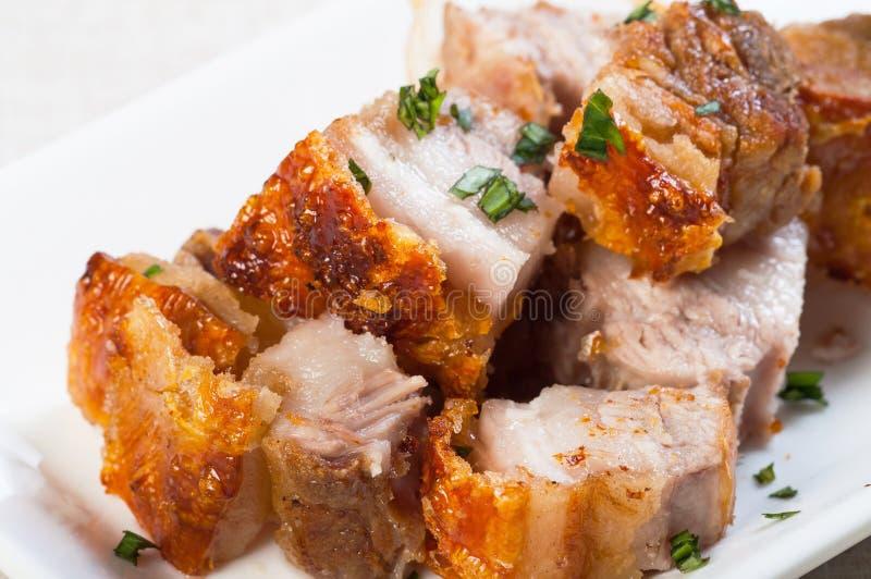 被油炸的猪肚用肝脏调味汁 库存照片