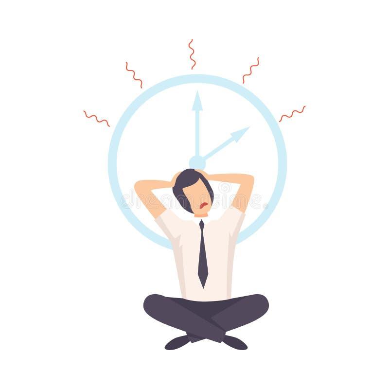 被注重的学生坐地板在时钟下,在检查前的紧张的青少年,最后期限,时间压力传染媒介例证 向量例证