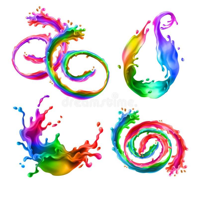 被混合的传染媒介飞溅,彩虹漩涡与下落 皇族释放例证