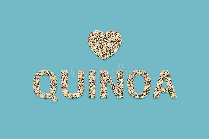 被混和的三色奎奴亚藜超级食物谷类纹理文本 秘鲁印加超级食物混合 免版税库存照片