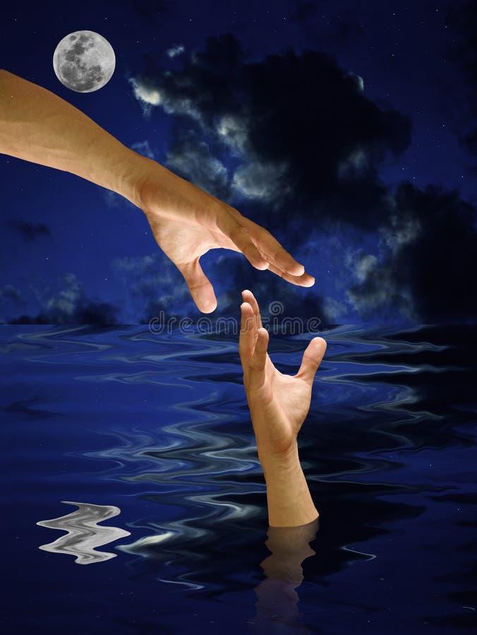 被淹没的现有量帮助其他水  免版税库存图片