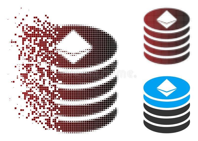 被溶化的映象点半音Ethereum硬币堆象 皇族释放例证