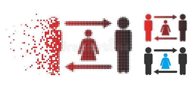 被溶化的被加点的半音人妇女交换象 向量例证