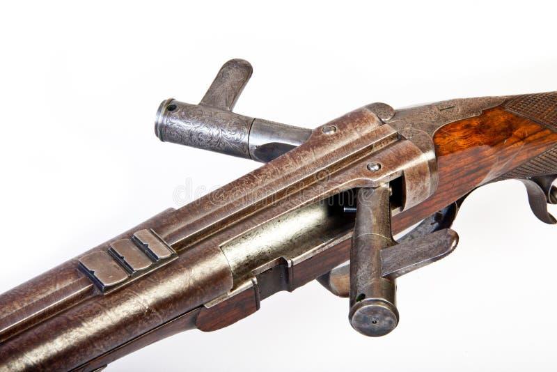 被滚磨的双枪狩猎端 库存图片