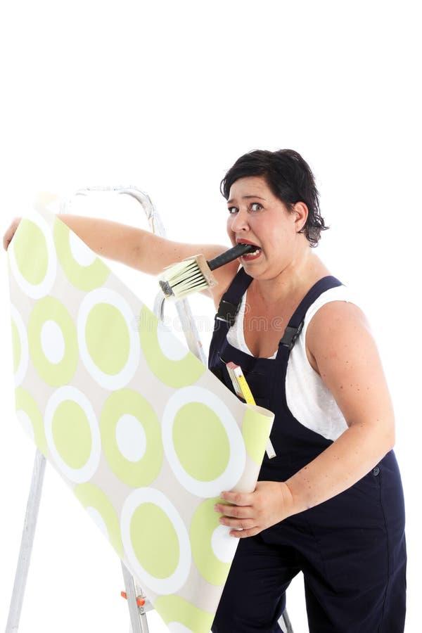 被激怒的妇女停止的墙纸 免版税库存照片