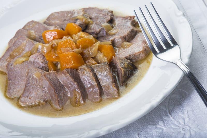 被炖的猪肉舌头西班牙人样式 图库摄影
