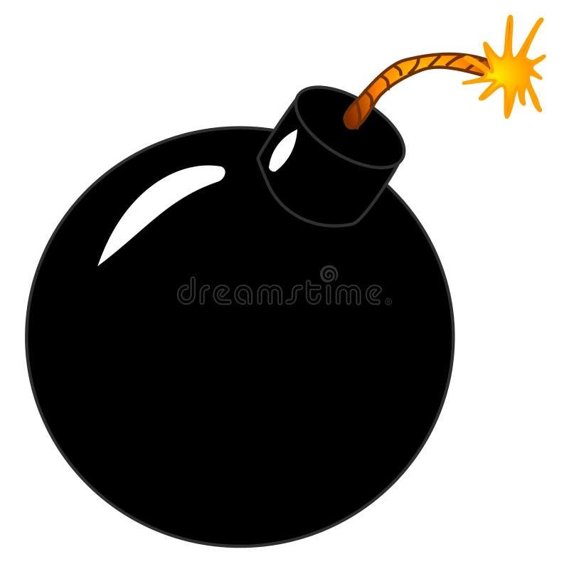 被点燃的艺术黑色炸弹夹子在周围 向量例证