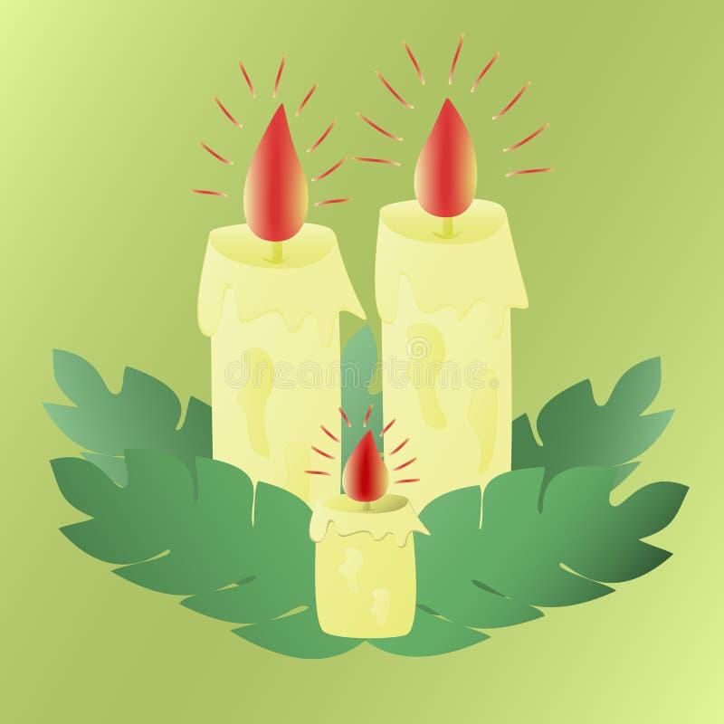 被点燃的蜡蜡烛 向量例证