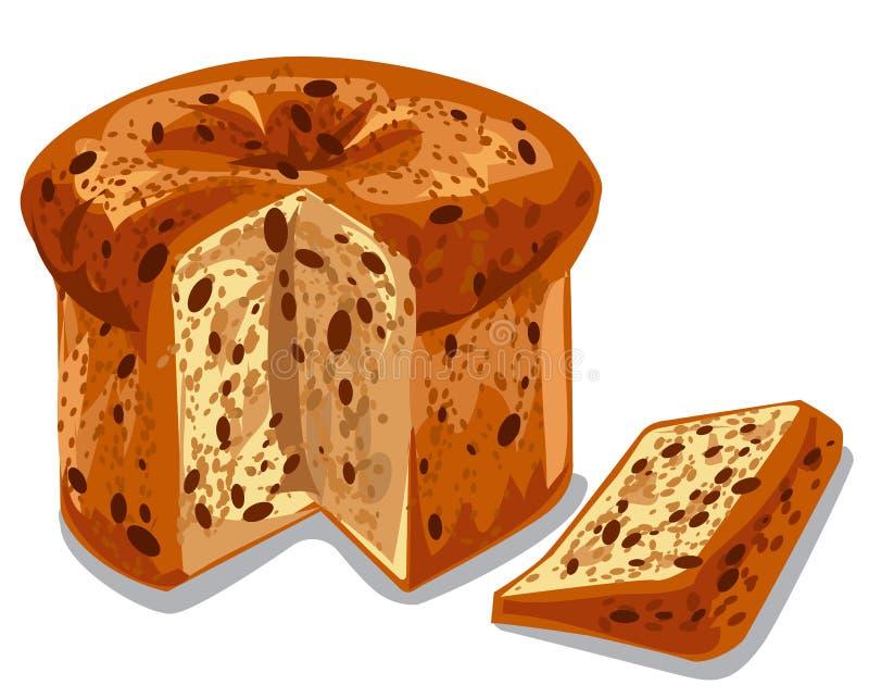 被烘烤的意大利节日糕点蛋糕 向量例证