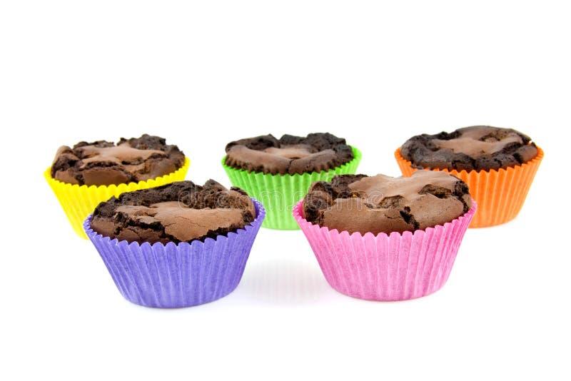 被烘烤的果仁巧克力杯形蛋糕在家 库存图片