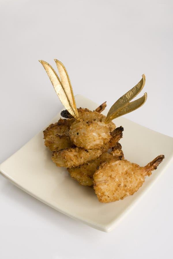 被烘烤的椰子金子hor牌照虾正方形二葡萄酒 免版税库存图片