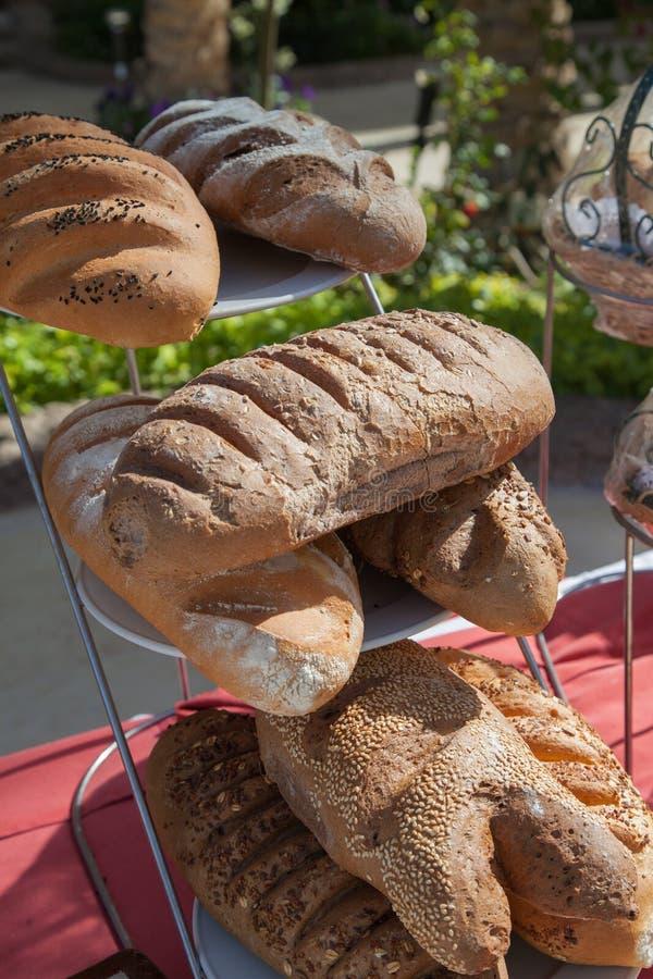 被烘烤的物品、面包和面包店的分类 面包的混合 Servind面包 bactria 免版税库存图片