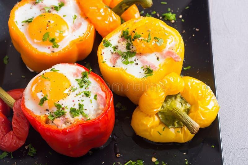 被烘烤的胡椒充塞用烟肉和鸡蛋 免版税图库摄影