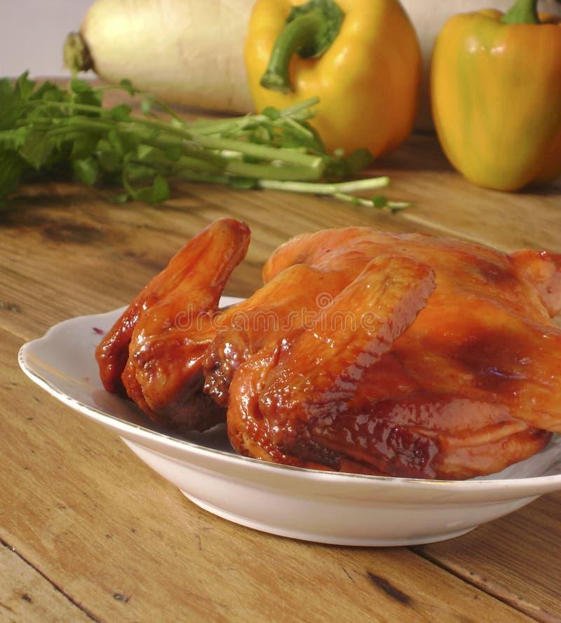 被烘烤的蜂蜜味道鸡 图库摄影