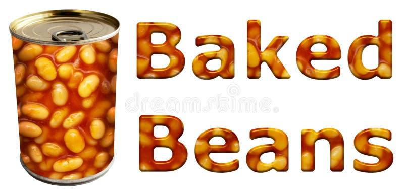 被烘烤的豆装于罐中和词 向量例证