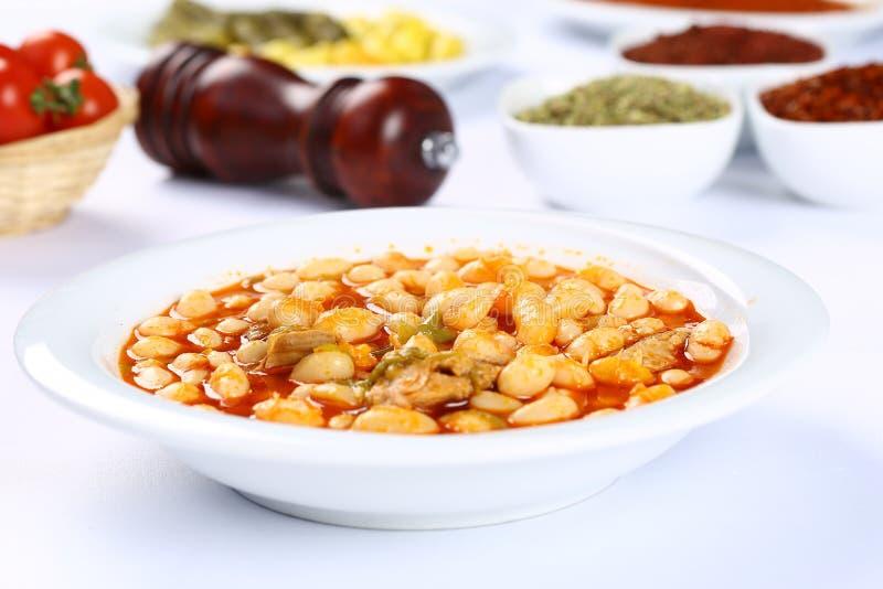 被烘烤的豆/库鲁Fasulye/土耳其食物 免版税库存照片