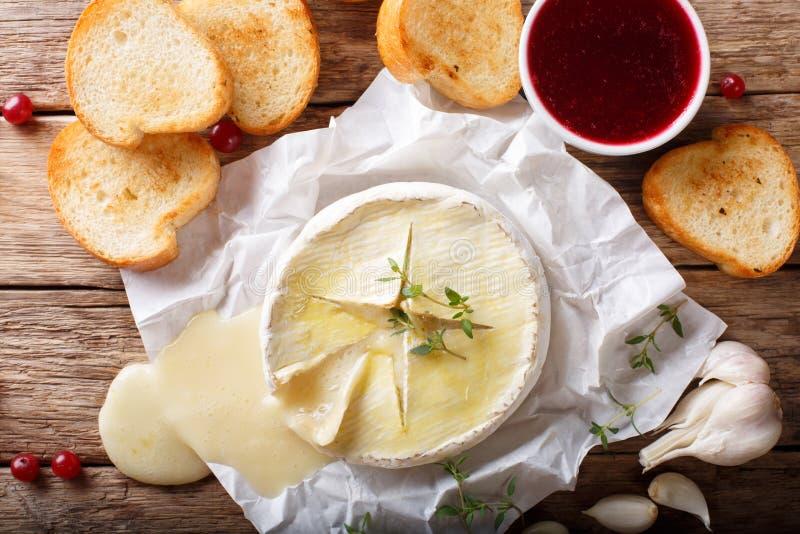 被烘烤的软制乳酪乳酪用麝香草和大蒜服务与烤 库存图片