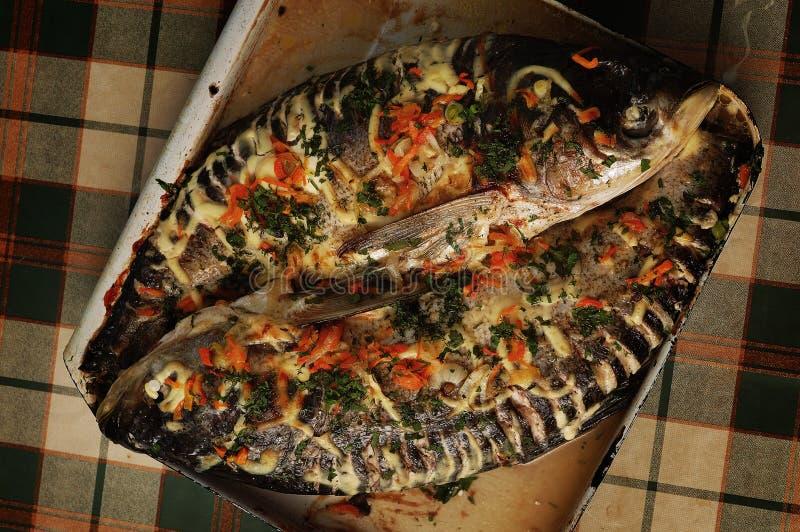 被烘烤的鱼平板炉 免版税库存照片