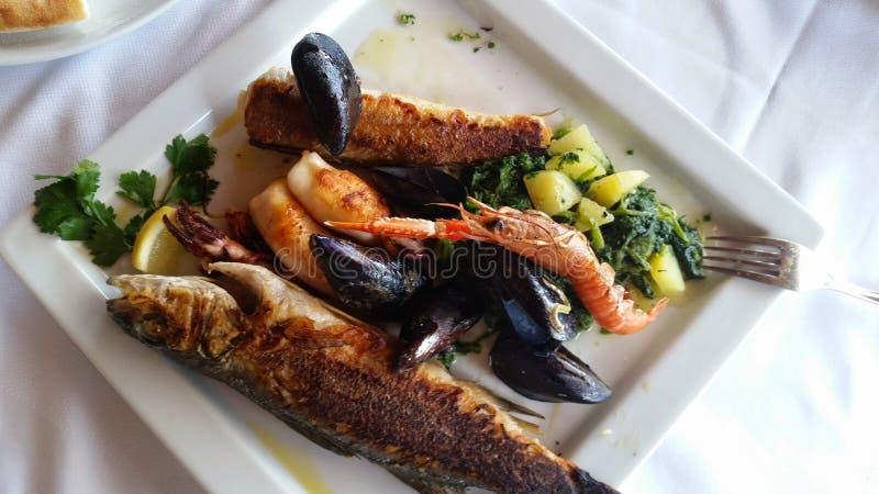 被烘烤的鱼是一道简单,快速和鲜美鱼宴,优秀作为开胃菜或作为第一条路线或第二条路线用的土豆 库存照片