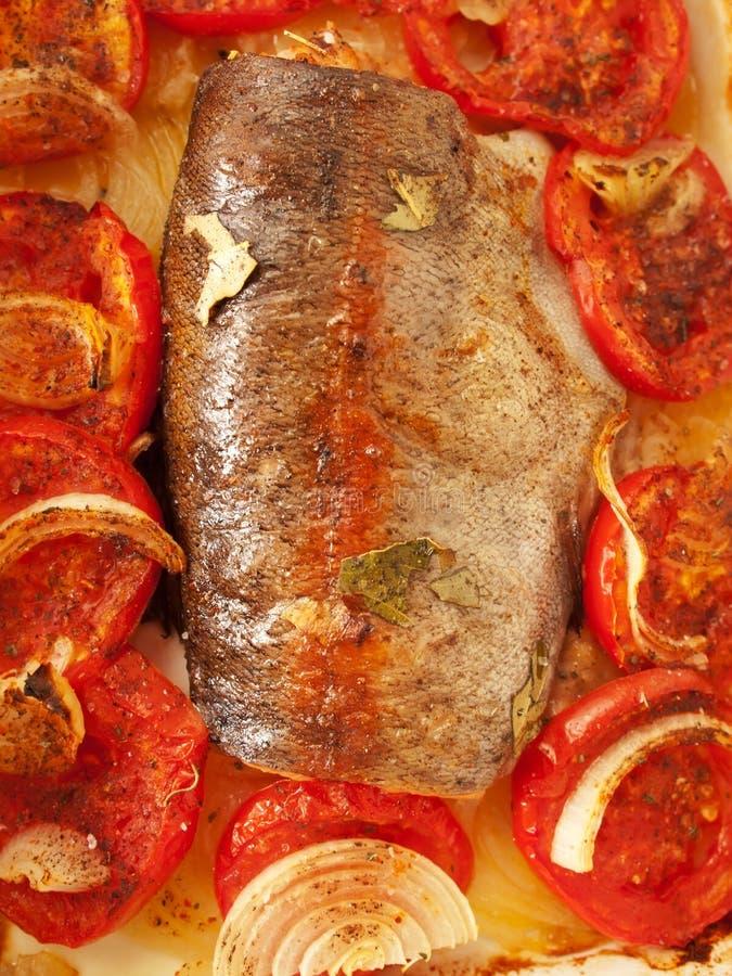 被烘烤的鳟鱼用蕃茄和葱 库存照片