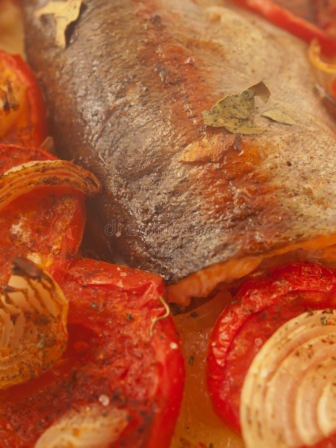 被烘烤的鳟鱼用蕃茄和葱 免版税图库摄影