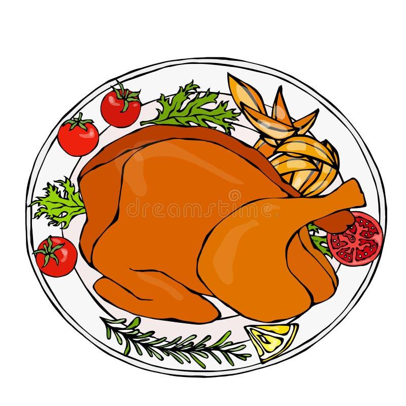 被烘烤的鸡或烤土耳其一块板材的有土豆楔子、蕃茄和草本的 准备好欢乐晚餐 婚姻正餐肉卷熏制的蕃茄 向量例证