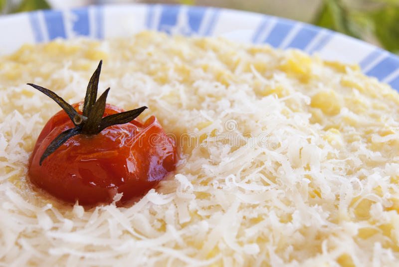 被烘烤的麦片粥蕃茄 库存照片