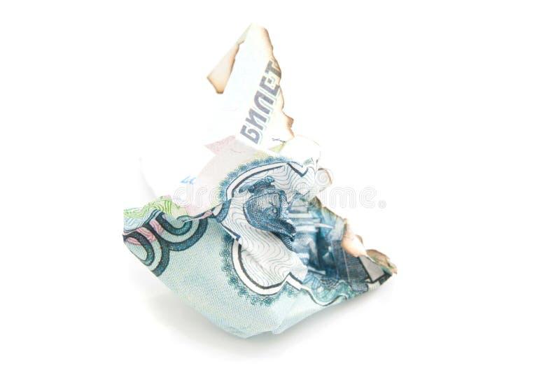 被烧焦的俄国钞票 库存图片