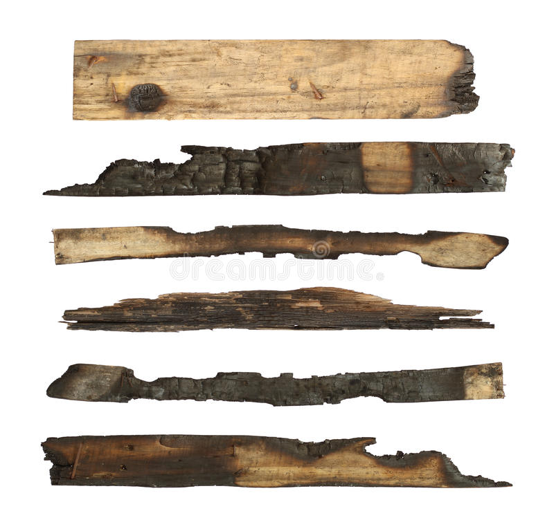 被烧焦的木板条 免版税图库摄影