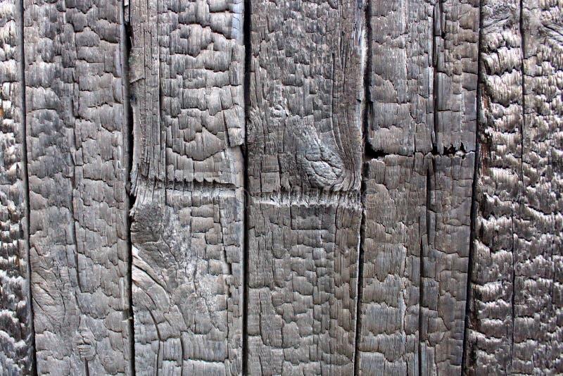 被烧的木墙壁纹理 免版税库存照片
