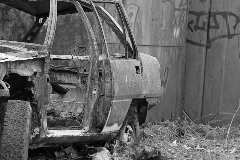 被烧的汽车 免版税图库摄影