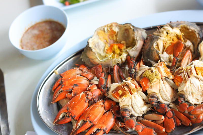 被烧的海螃蟹 库存图片