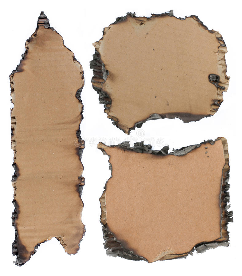 被烧的纸板 库存图片