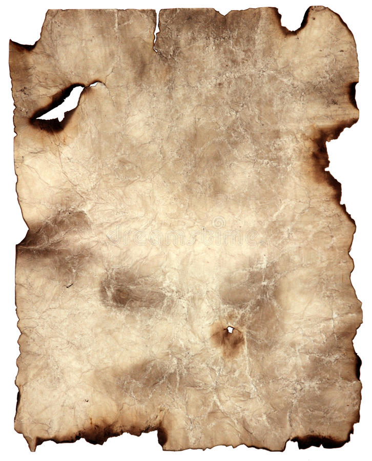 被烧的纸羊皮纸 库存图片