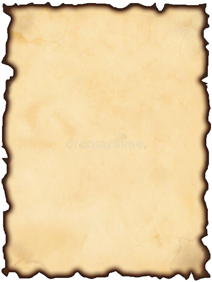 被烧的老纸张 免版税库存照片