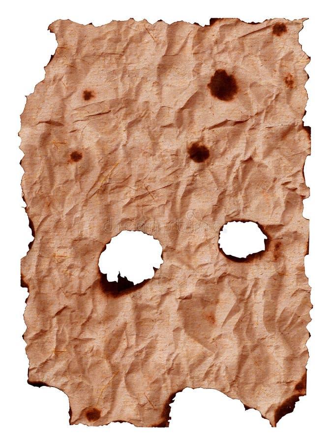 被烧的被弄皱的老纸板料 库存照片