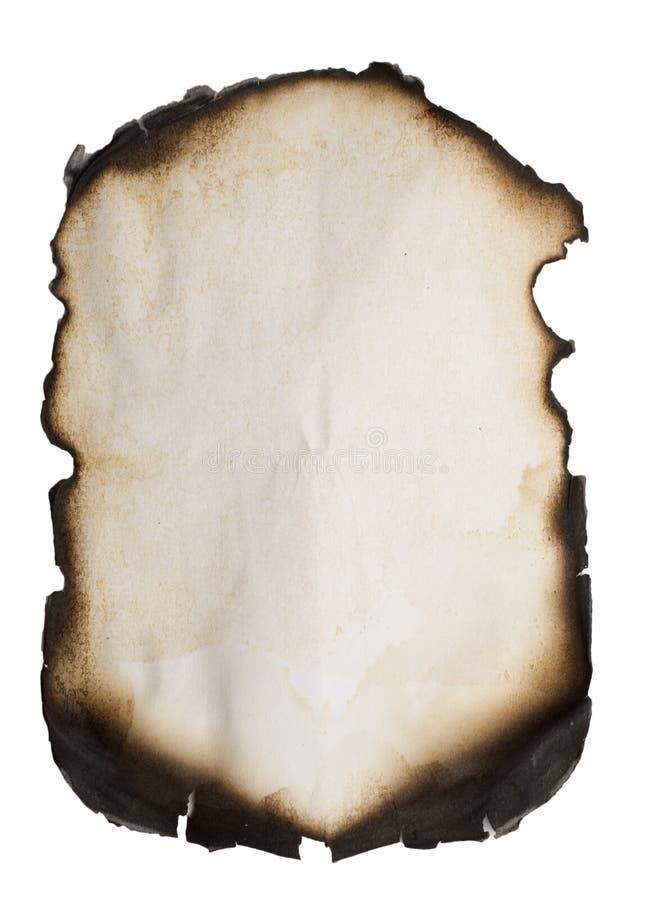 被烧的边缘老纸张 免版税库存照片