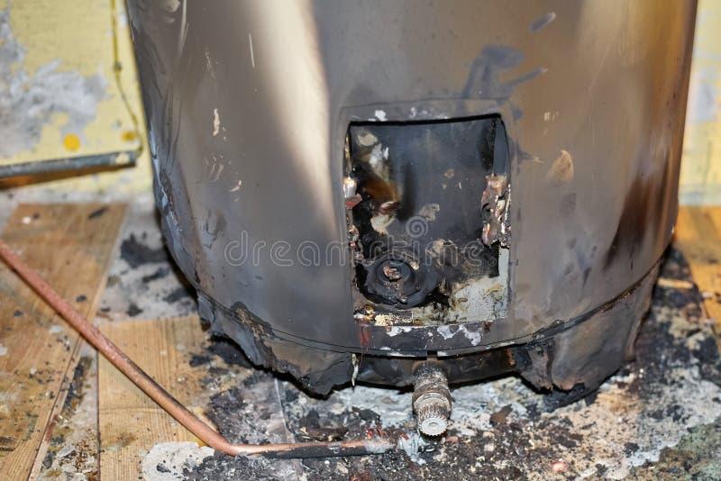 被烧的水加热器 库存图片